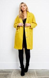 Silkfred Liquorish Yellow Oversized Wool Mix Cocoon Coat