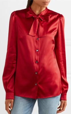 Net-a-Porter Dolce & Gabbana Pussy-bow silk-blend satin blouse - red silk blouse