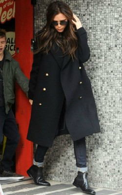Victoria Beckham street style black coat, jeans and chelsea boots - shop the look