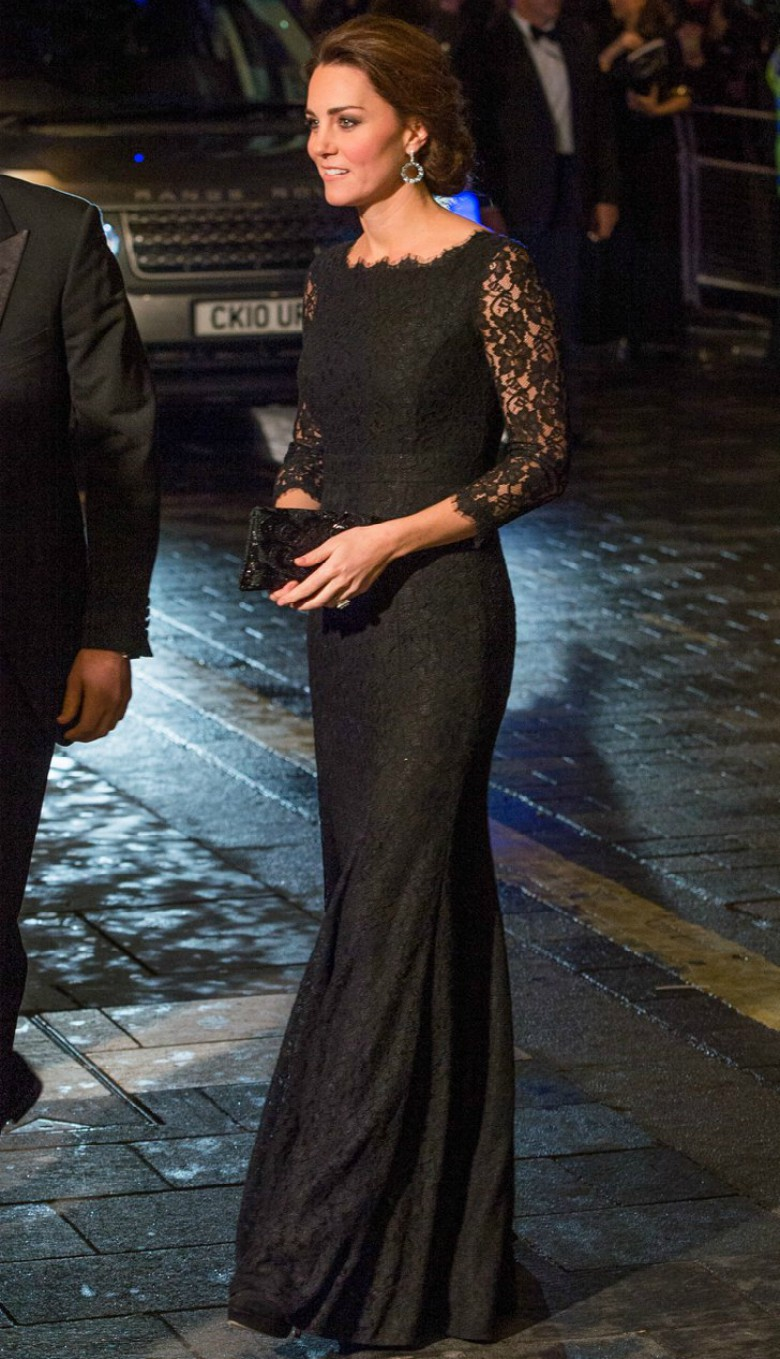Kate Middleton arriving at an event wearing full length black gown with lace