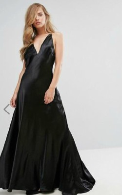 ASOS Fame and Partners Premium Metallic Gown with Fishtail - $245 - full length black ball gown