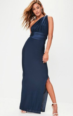 Missguided navy slinky multi way maxi - $57 - full length blue gown