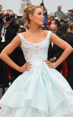 Blake Lively in light blue multi layered gown at awards