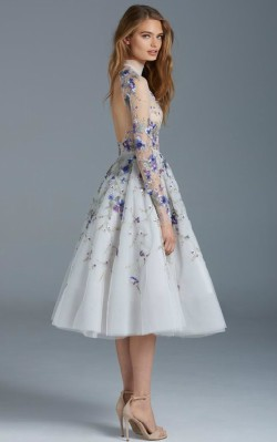 What to wear to a black tie dance - short blue formal dress with tulle skirt and flower detailing