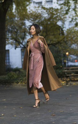 How to style a camel coat dressy - camel coat with wrap around light pink dress in velvety material