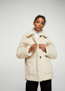 MANGO Faux shearling-lined coat