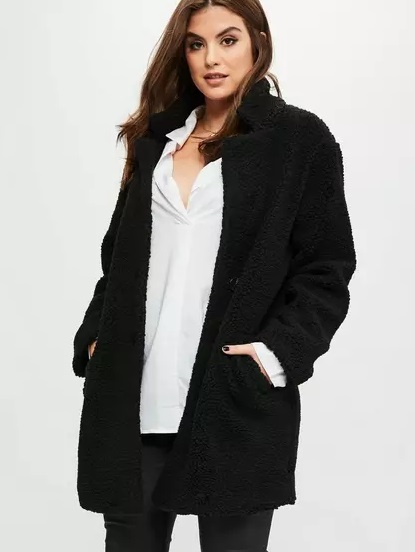 Missguided curve black teddy shearling wool coat