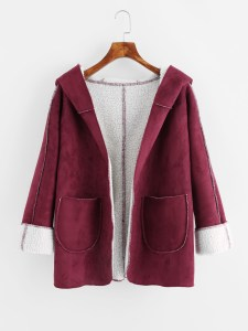 She In Faux Shearling Lined Hooded Coat