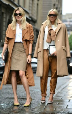 How to style a camel coat for work - brown trousers with a white shirt and camel coat