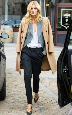 How to style a camel coat for work - camel coat, grey blazer, white shirt and dark trousers