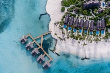 Fushi Faru aerial shot luxury resort in the Maldives