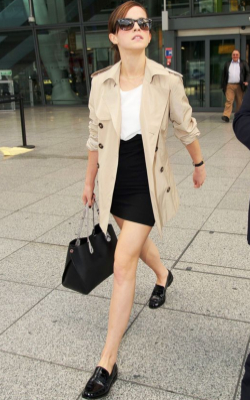 Emma Watson in black pencil tube skirt, trench coat and white top - 50 best pencil skirt