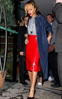 Rihanna in red pencil skirt and coat - 50 best pencil skirts
