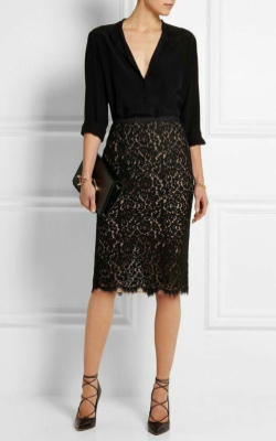 Model in black lace pencil skirt and v-neck black top