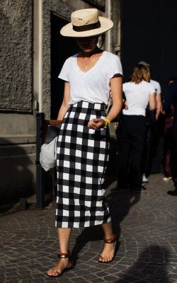 Woman in back and white check pencil skirt - 50 best pencil skirts