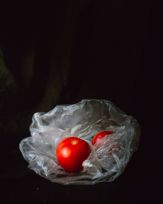 tomatoes in plastic bag food photography
