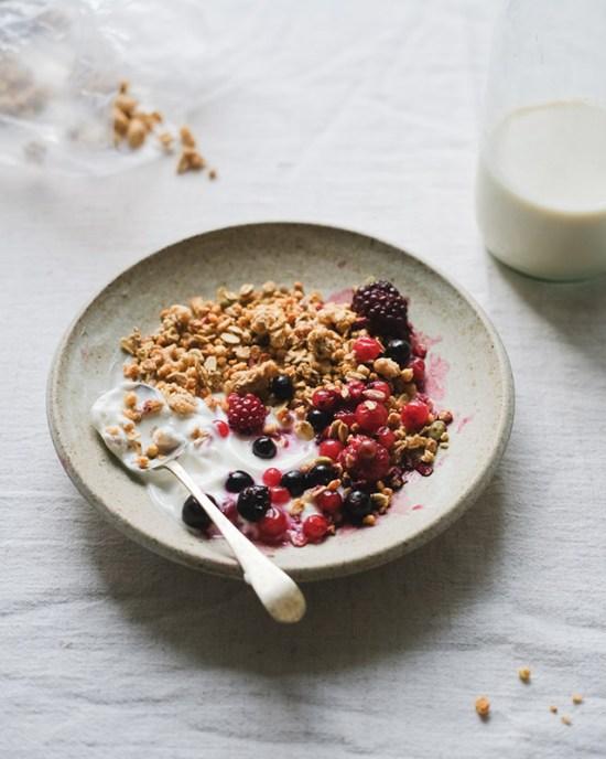 bowl of yogurt, granola and berries