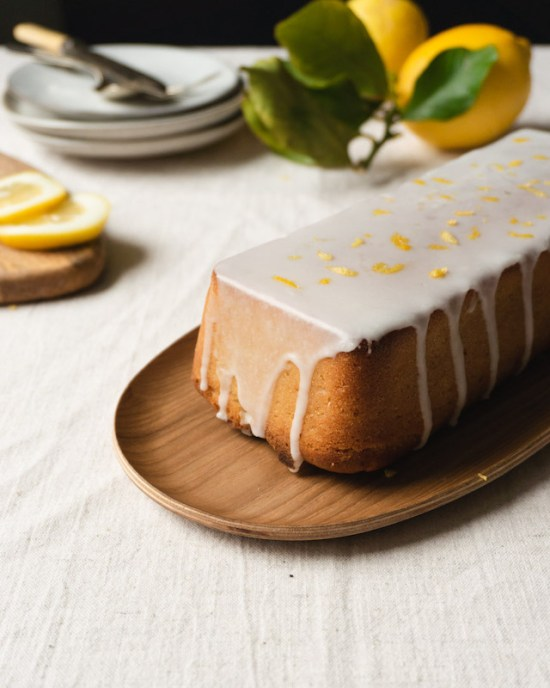 Iced lemon loaf cake