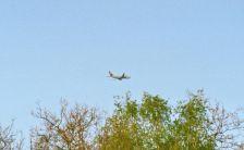 Unbekannte Maschine der spanischen Alba Star startet über den Bäumen unserer Heimat.