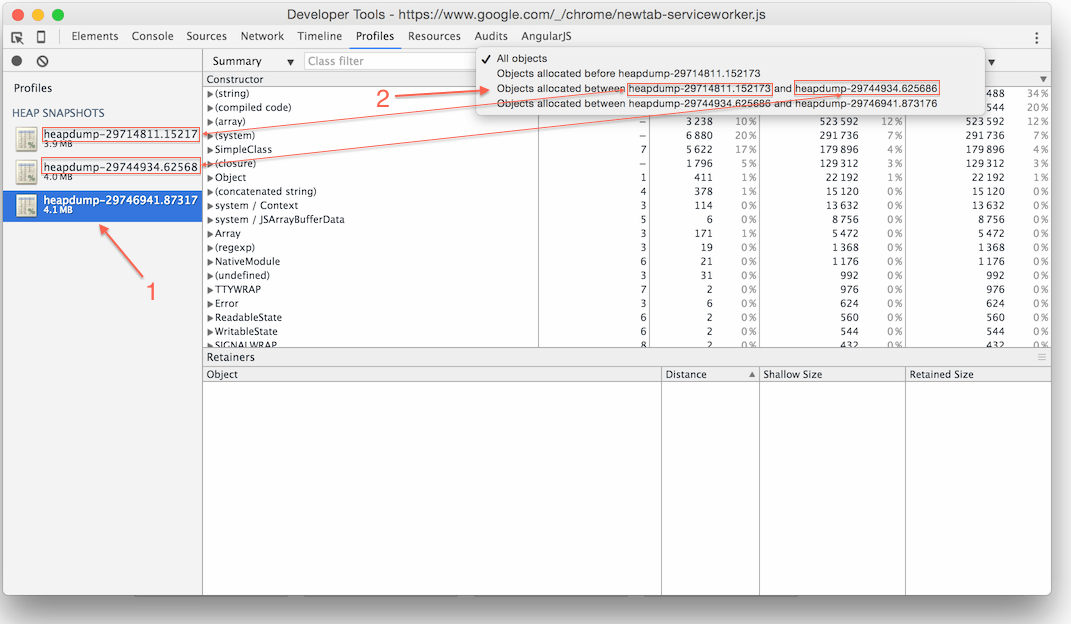 Simple Guide to Finding a JavaScript Memory Leak in Node js