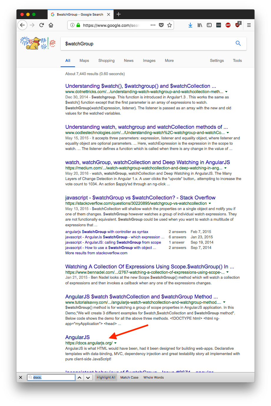 Angular 1 Documentation Disappeared from Google Search Results