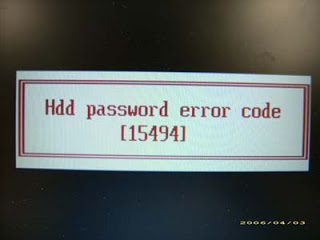 hdd password error code