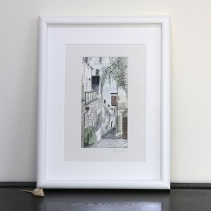 clovelly art print with a view down the clovelly hill to the sea..