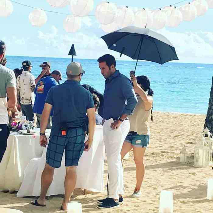 Alex O'Loughlin BTS beach shoot