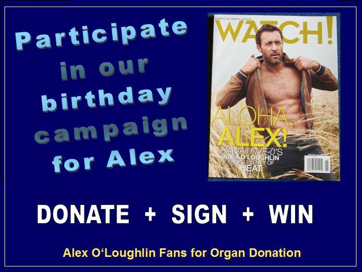 Alex O'Loughlin fans for organ donation