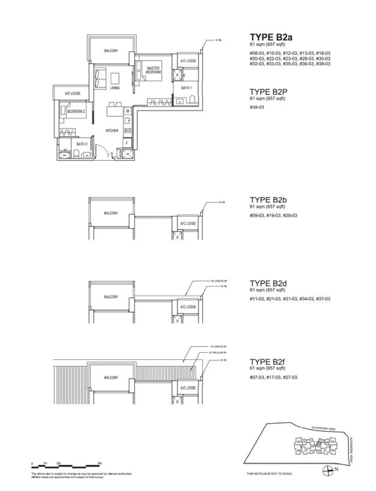 Alex Residences 2 Bedroom Type B2a, B2P, B2b, B2d, B2f Floor Plans