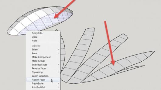 Flattening a shell in segments