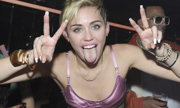 Miley Cyrus with tongue out