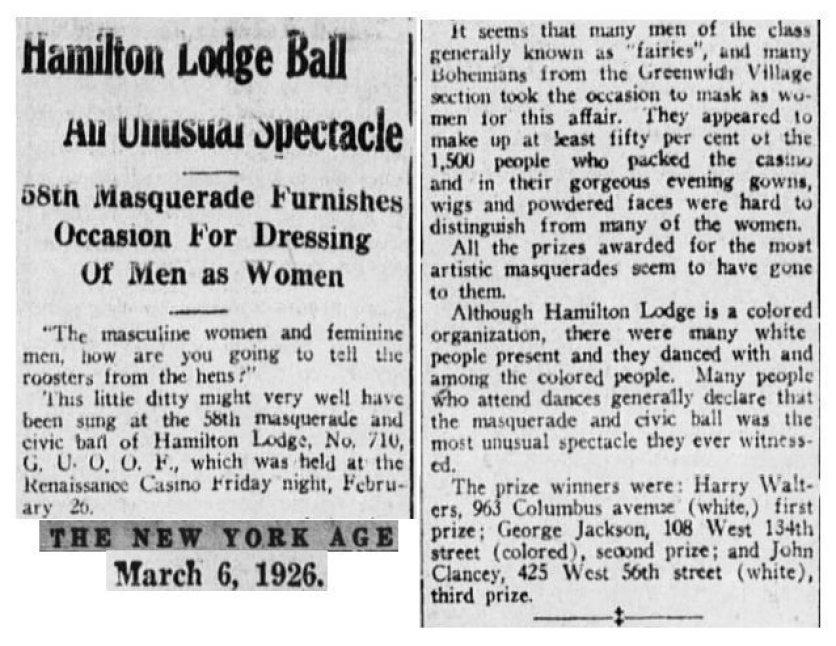 """Recorte de """"The New York Age"""" del 6 de Marzo de 1926 hablando sobre la 58º drag ball organizada en el Hamilton Lodge."""