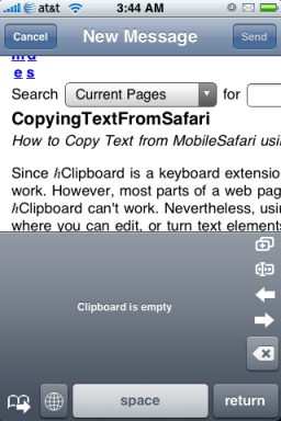 Sending the whole page to Safari.