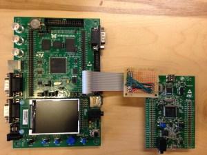 STM32F4-Discovery debugging STM3210E-Eval