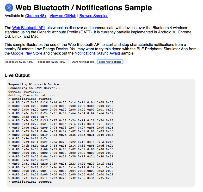 Web Bluetooth notifications sample readout