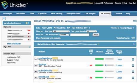 Linkdex Linkbuilding Tool
