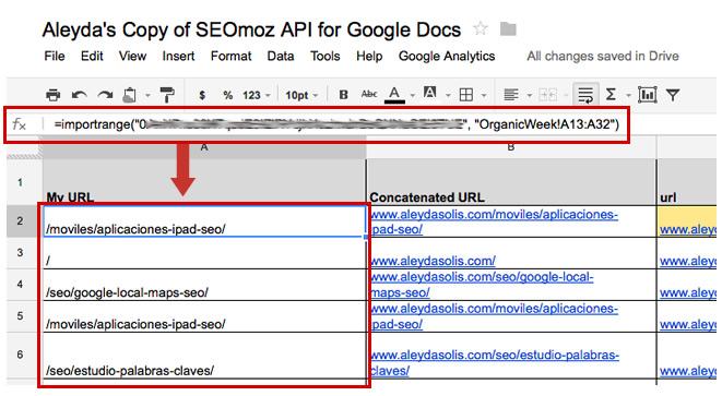 ImportRange SEOmoz API Google Docs