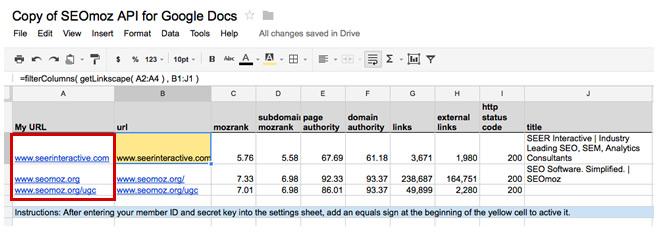 SEOmoz API Google Docs Tool