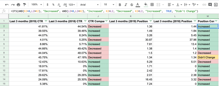 Multiple conditions Google Sheets