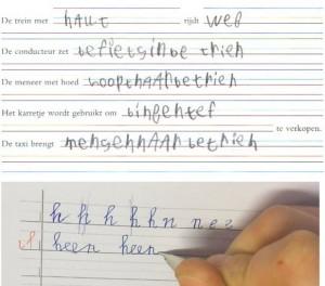 De blokletters die een kind mocht schrijven om hem het leven makkelijker te maken. Daaronder: zijn eerste verbonden letters na twintig minuten instructie. (Bron: www.schriftontwikkeling.nl)