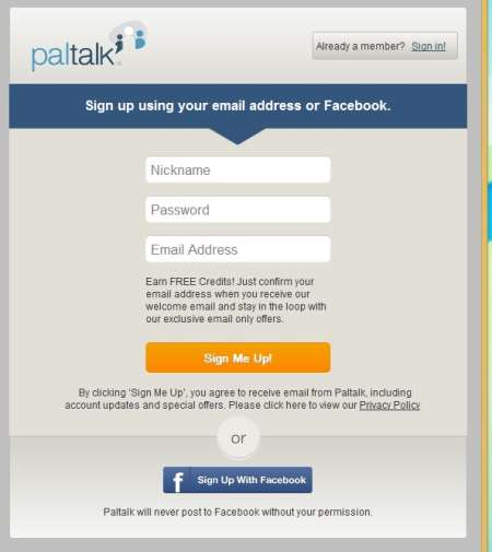 Paltalk create account page