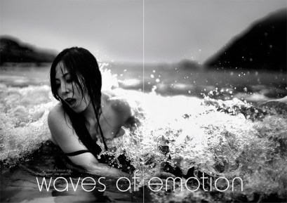 Natsuki in the waves: Miyazaki, Japan