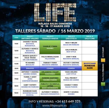 Programa Sábado Life Salsa Congress Málaga 2019