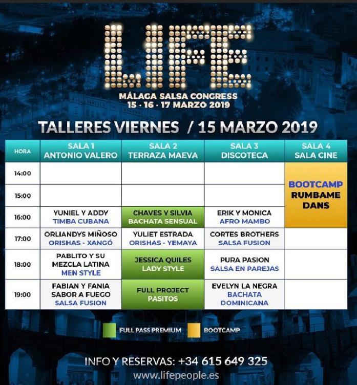 Programa Viernes Life Salsa Congress Málaga 2019