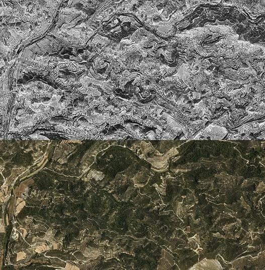 Peu de foto: Ortofotoimatges d'una de les àrees afectades per l'incendi. Comparativa entre el 1956 (superior) i el 2017 (inferior). Font: Institut Cartogràfic de Catalunya. Les taques fosques corresponen a superfície forestal. L'abandonament agrícola i l'increment de massa forestal és més que evident