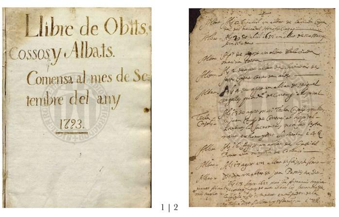 Libres Sagramentals de la Parròquia d'Alforja. Arxiu Històric Arxidiocesà de Tarragona (A.H.A.T) 1.- Pàgina d'inici del llibre d'Òbits 1793-1824 | 2.- Pàgina amb partides dels d'òbits del 1651-1652.