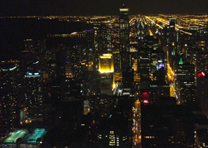 Nighttime view of Chicago from the 96th floor of the John Hancock Building.