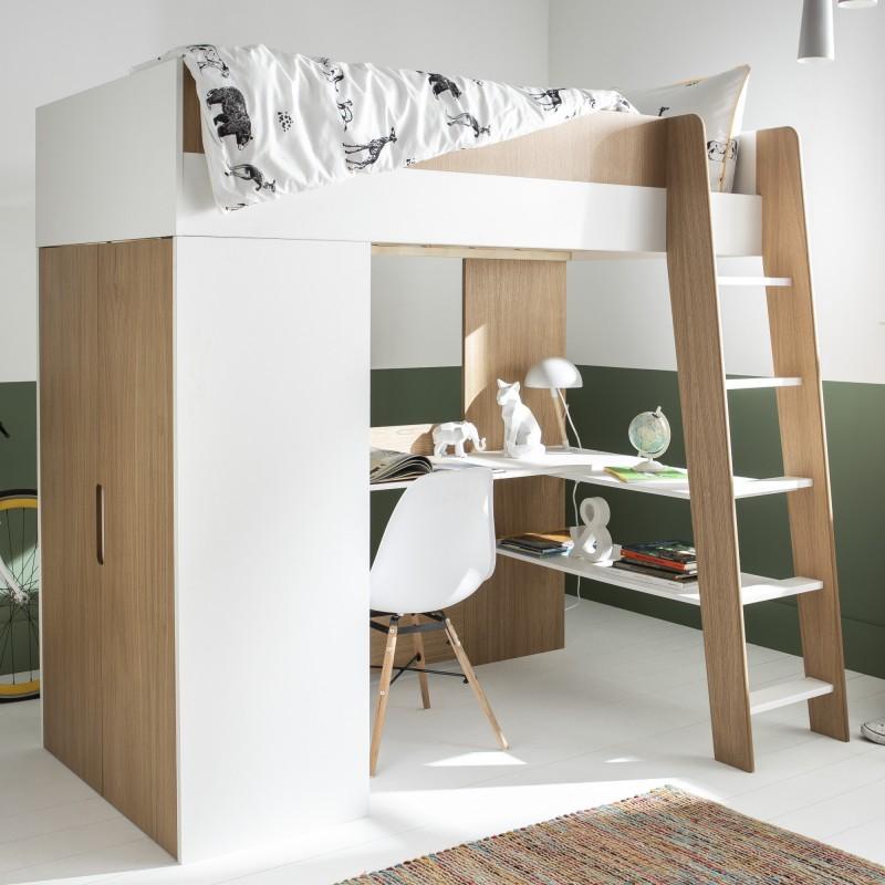 lit mezzanine a bureau et armoire 90x190 magnus blanc bois