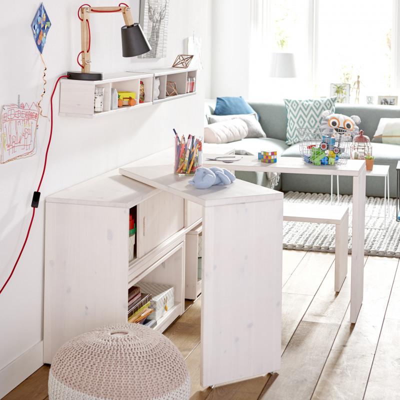 meuble de rangement avec bureaux et bancs escamotables noah blanc de chaux
